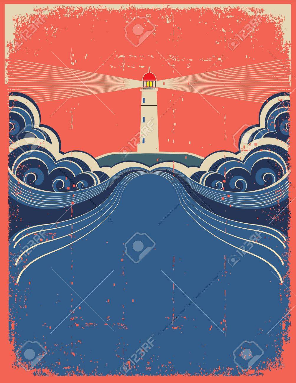 Lighthouse with blue sea.Vector grunge background for design of symbol card - 14704925