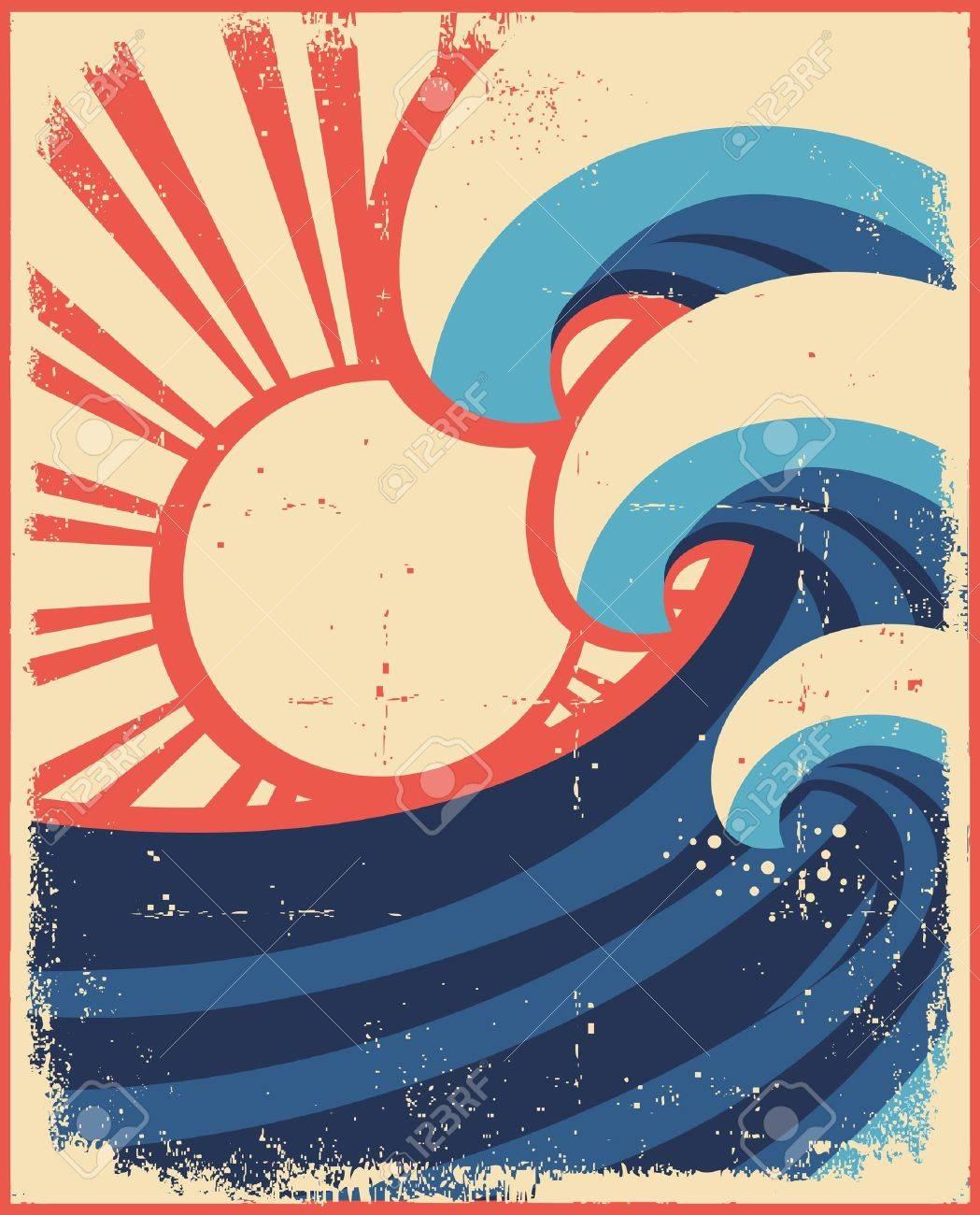 Sea waves poster.Grunge illustration of sea landscape on old paper. Stock Vector - 14976157