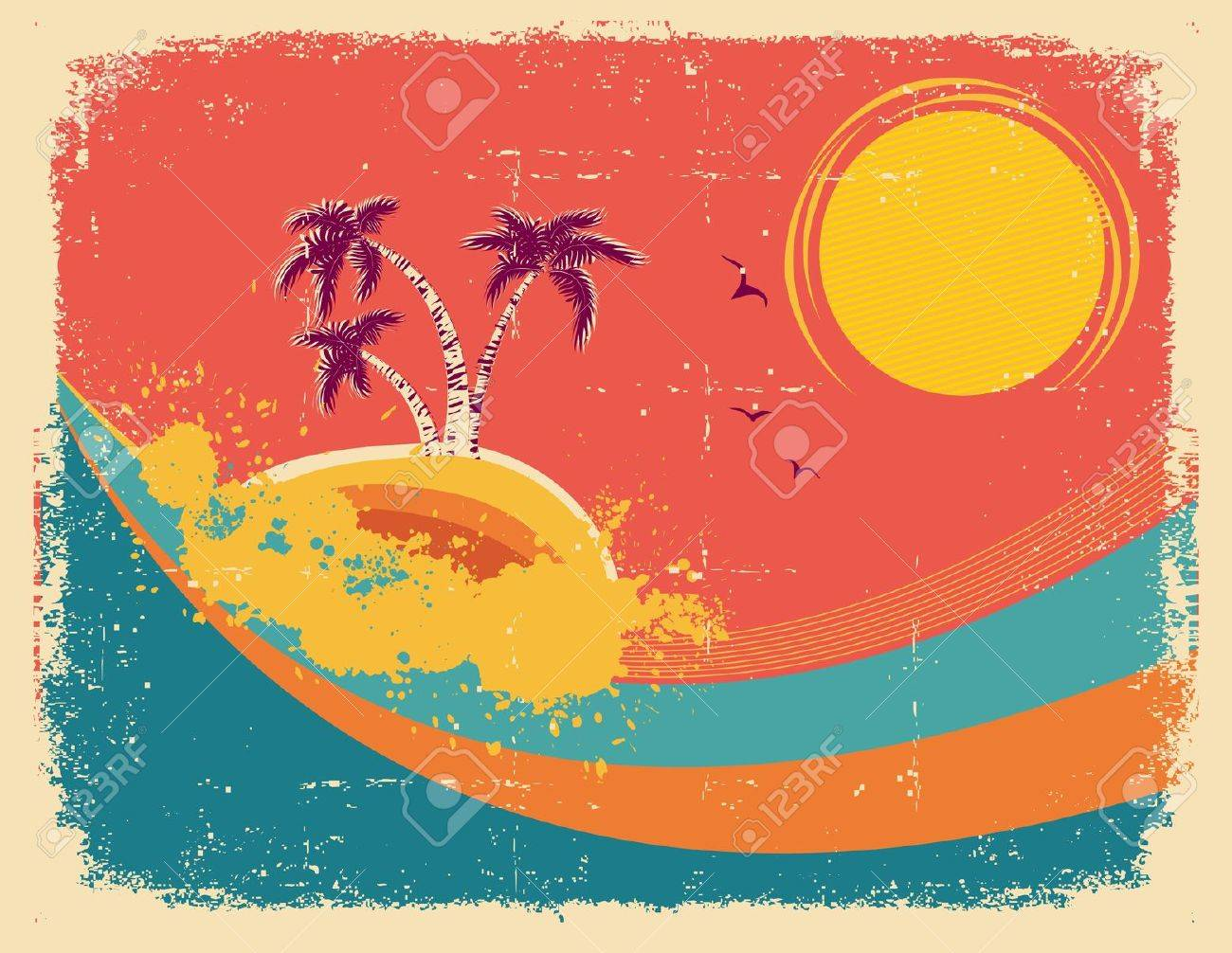 Vintage tropical card on old paper texture Stock Vector - 15047715