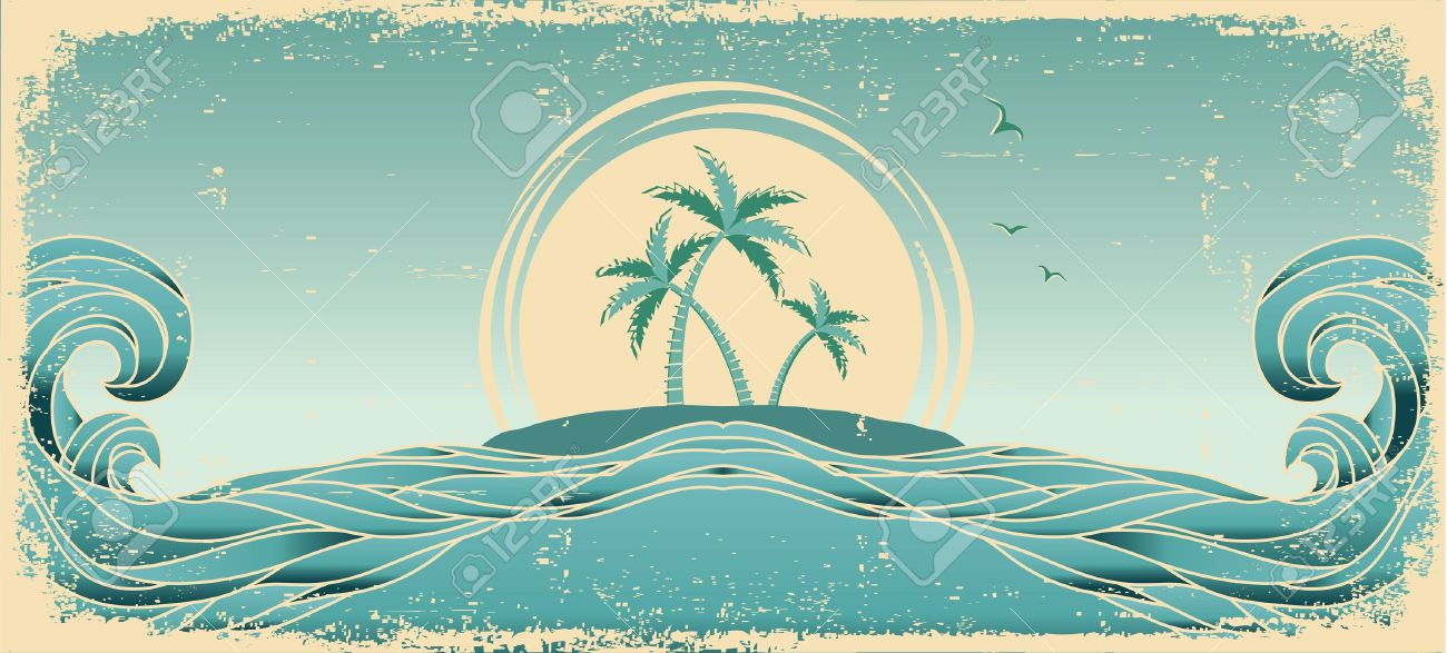 Blue seascape horizon. Vector grunge image with tropical palms on old paper texture Stock Vector - 15047556