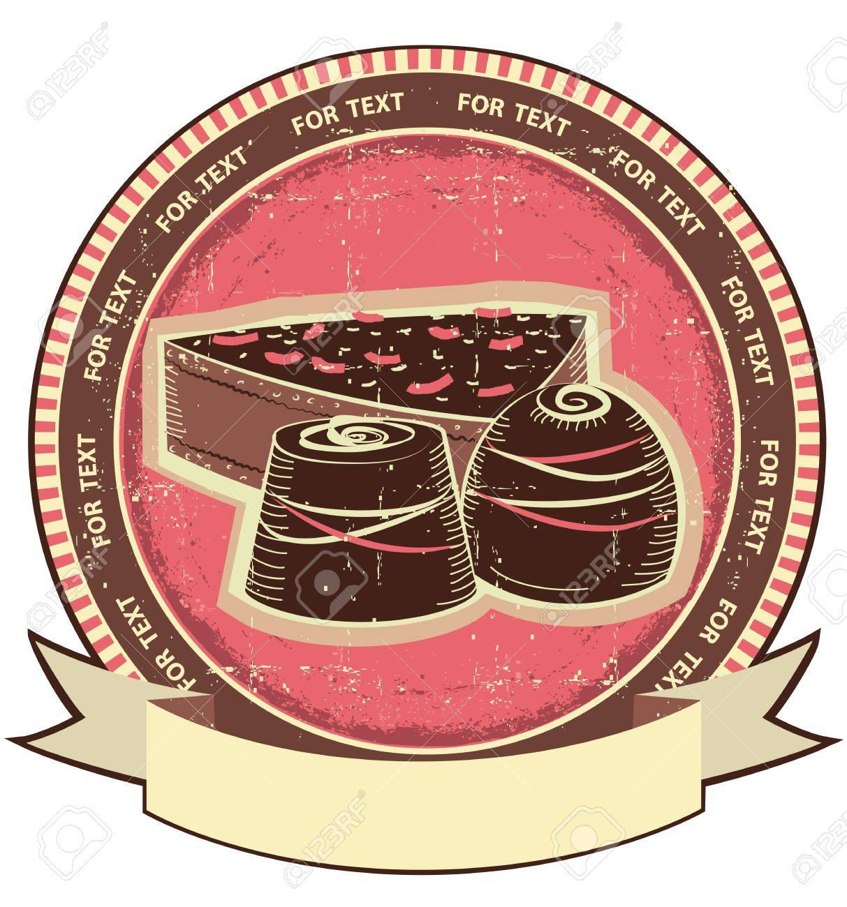 Chocolate sweets on old label vintage background Stock Vector - 16170214