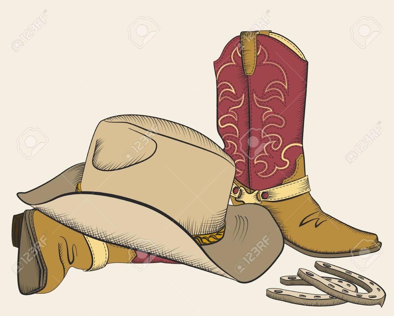 Foto de archivo - Las botas de vaquero y sombrero de diseño estadounidenses  elementos occidentales dc8d991e1ac