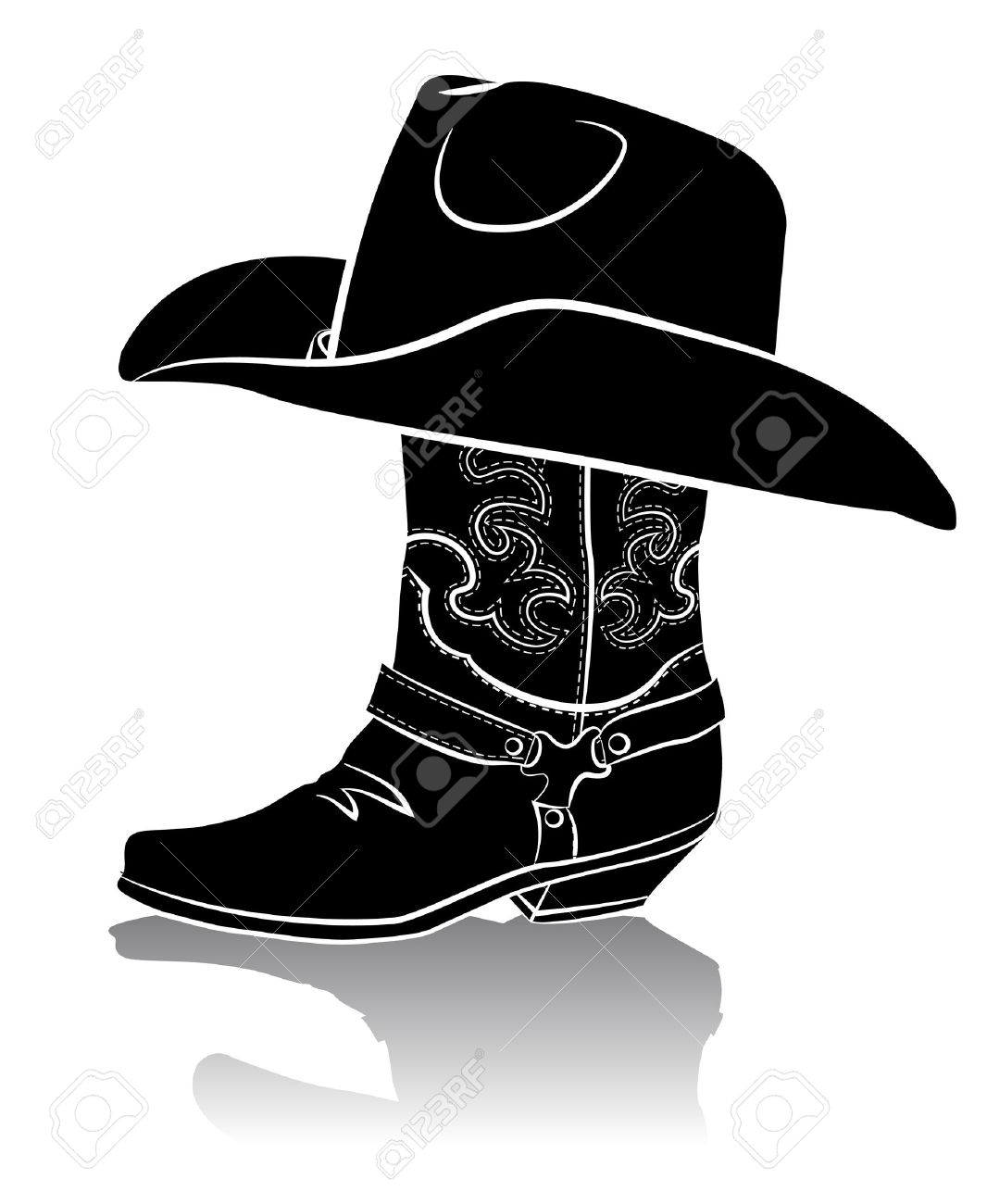 Cowboy Hat Graphics Cowboy Boot And Western Hat