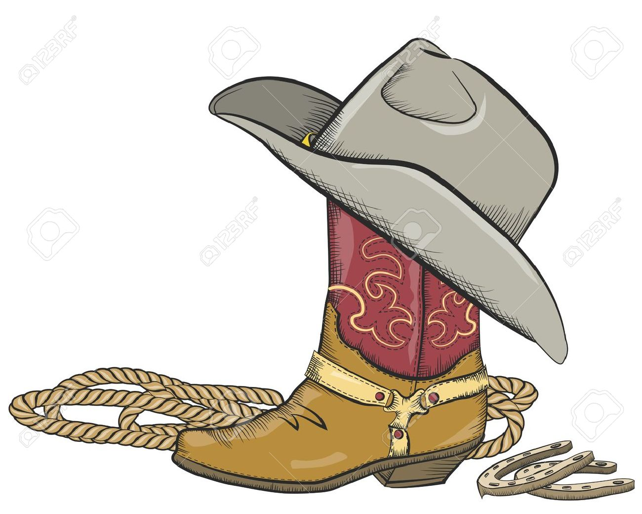 Cowboy boot with western hat isolated Stock Vector - 16957279 be92823d375