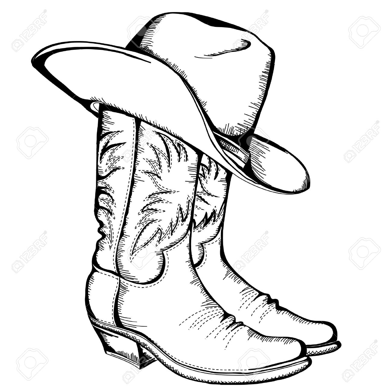 Botas de vaquero y sombrero ilustración gráfica Foto de archivo - 17229564 7c1da67f333