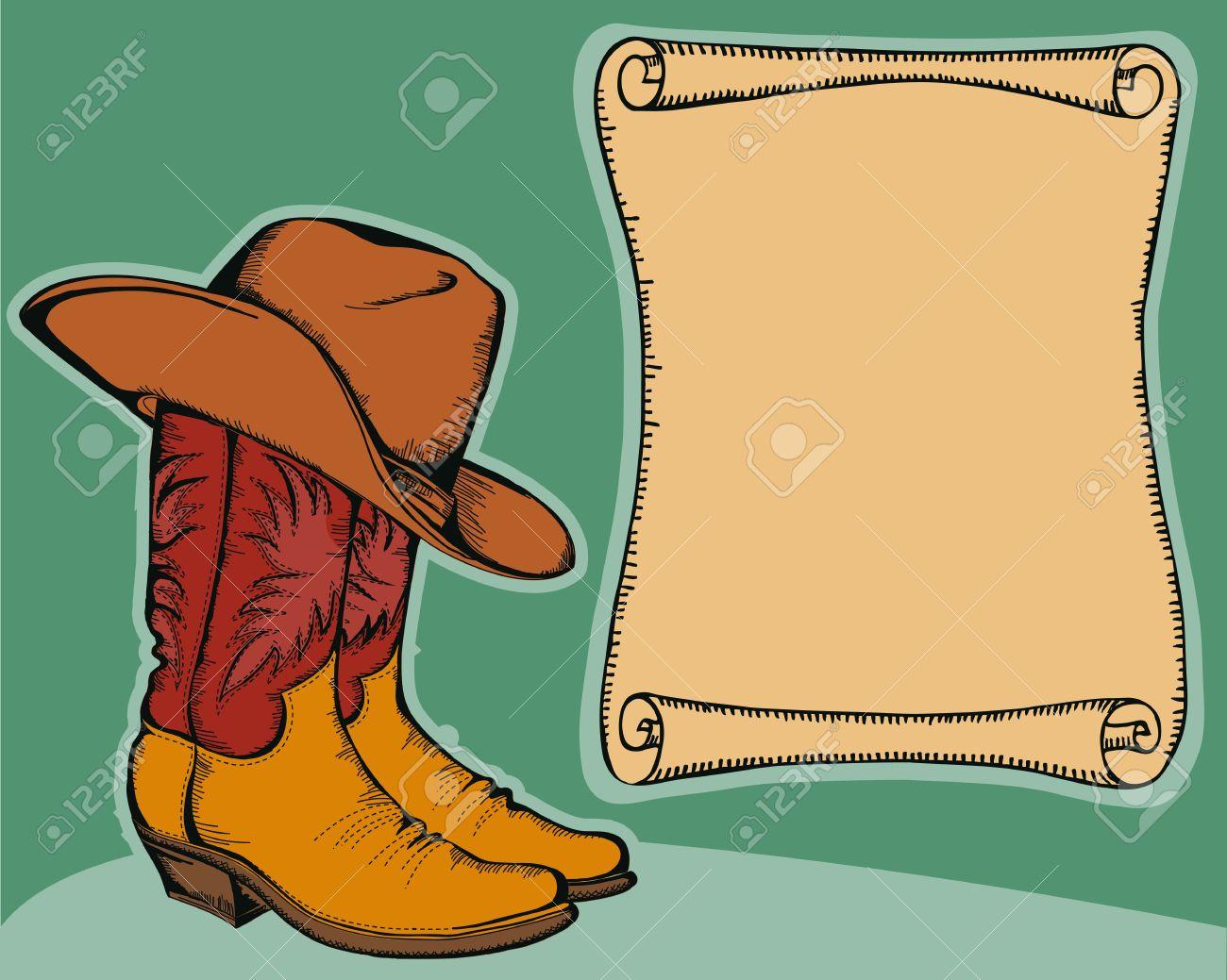 Contemporáneo Colorear Sombrero De Vaquero Y Botas Imagen - Dibujos ...