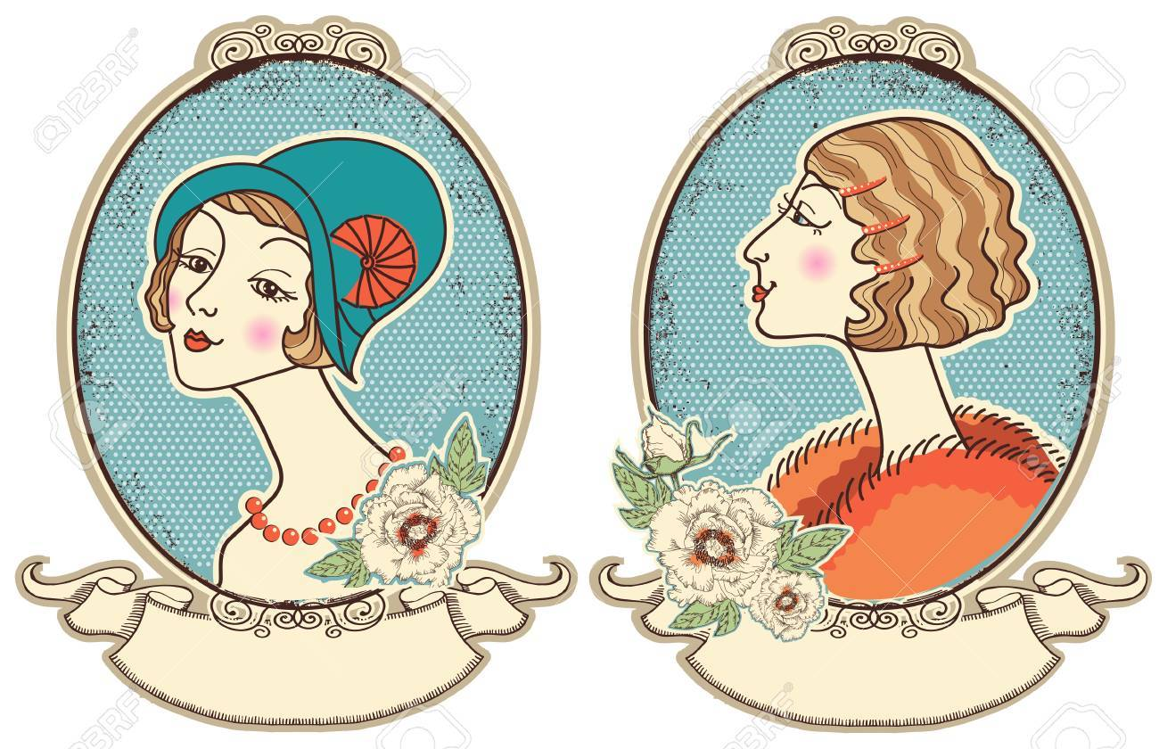Vintage woman portraits in frame people illustration Stock Vector - 19315739