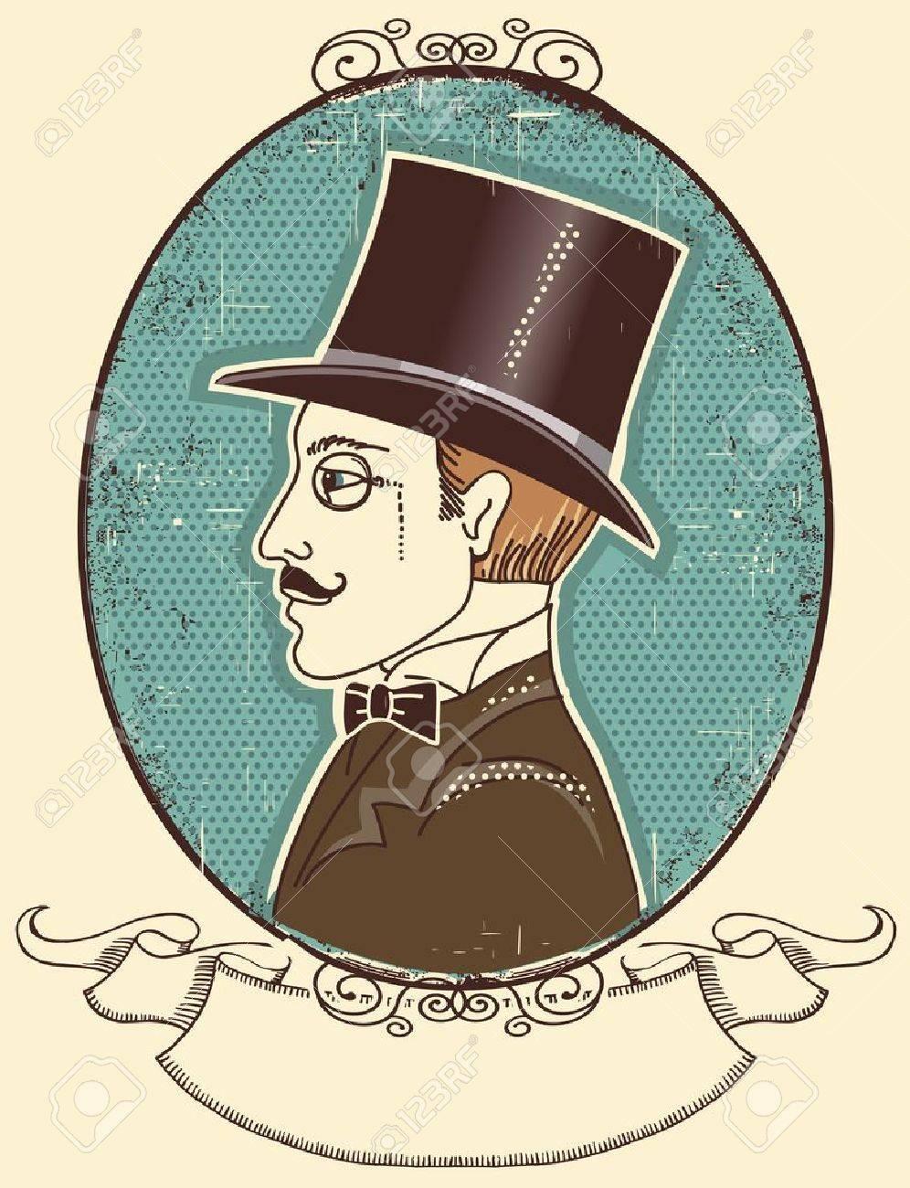 Elegant gentleman in a top black hat.vintage illustration Stock Vector - 19715022