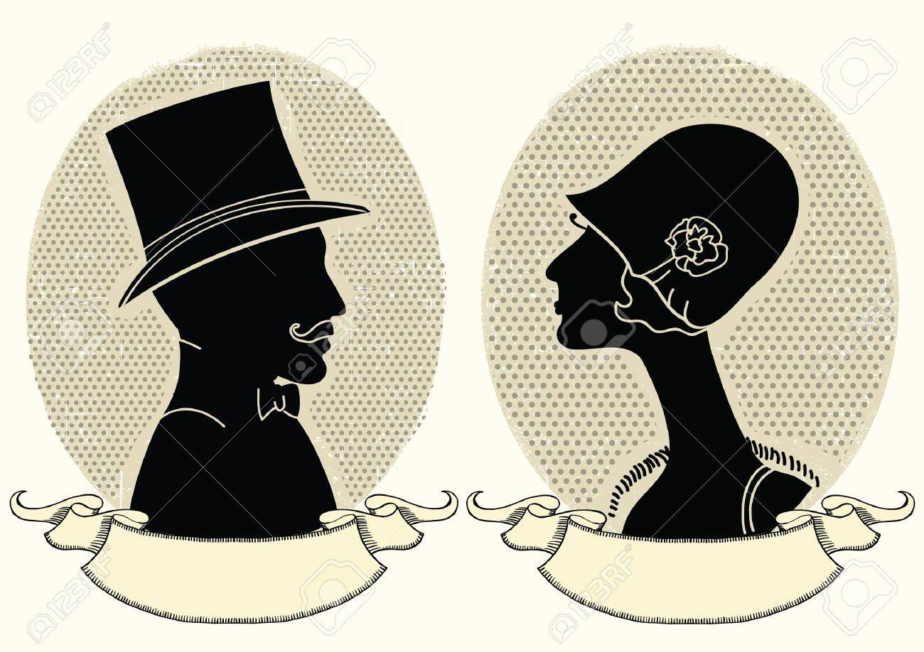 Man and woman portraits.vintage illustration Stock Vector - 19715050