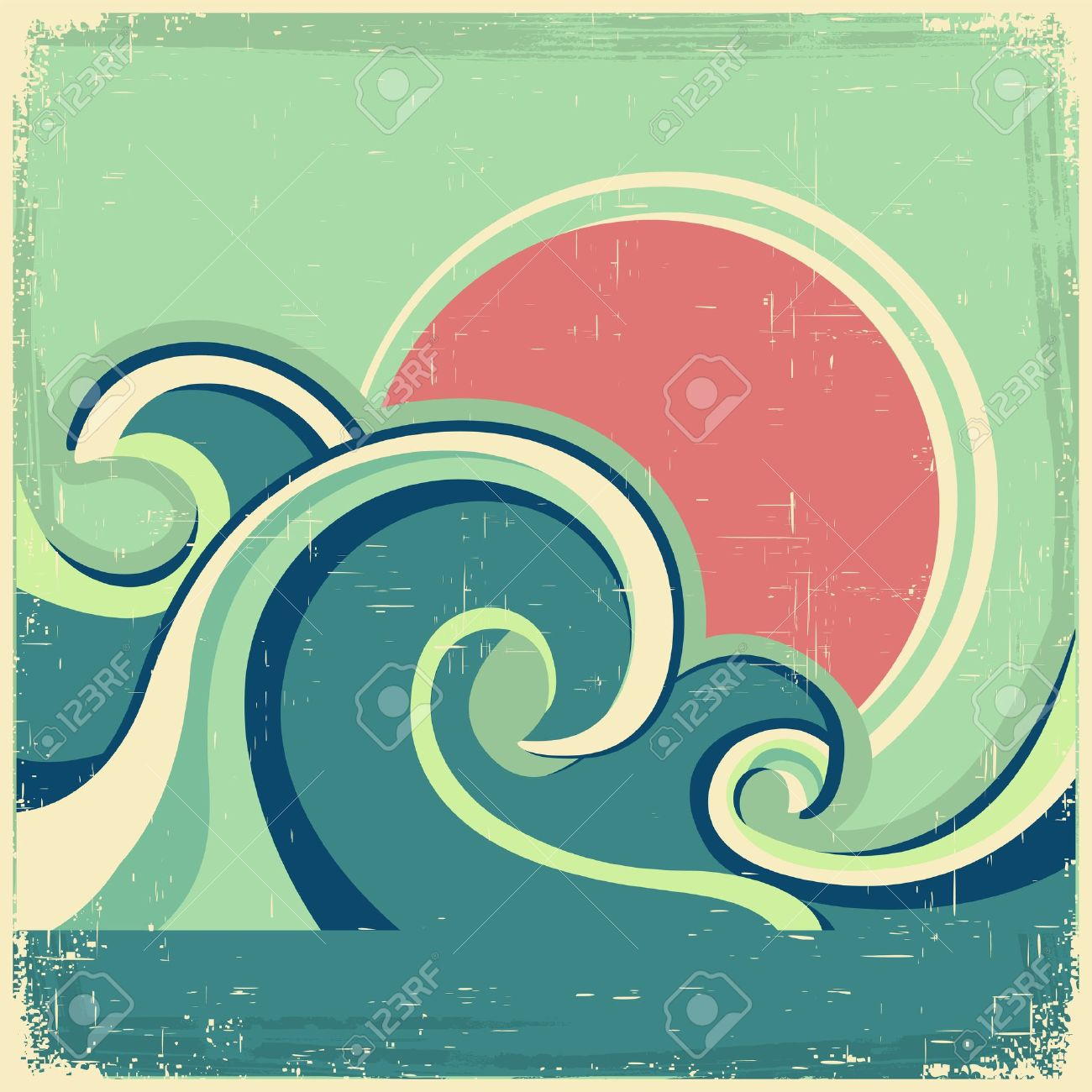 Vintage poster.Vector abstract seascape poster with sea waves and sun on old poster Stock Vector - 21459975