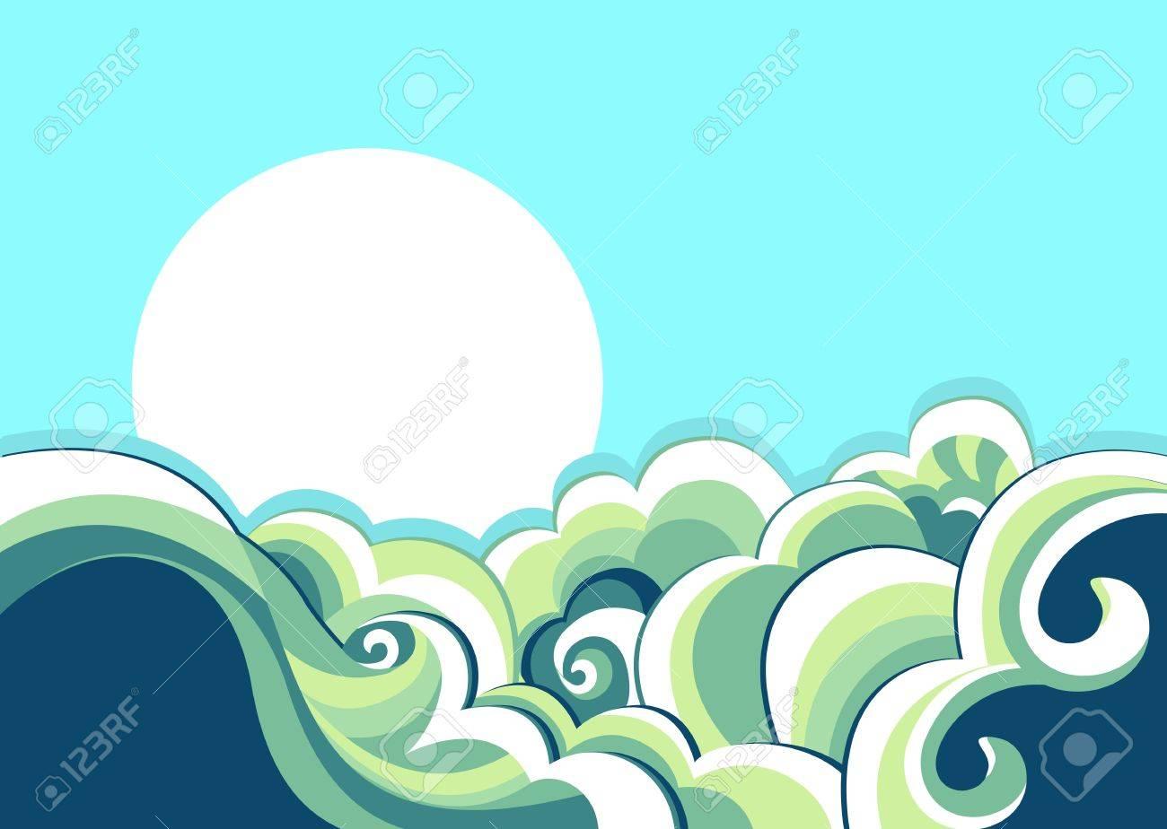 海の波の背景。海の風景のヴィンテージのイラスト ロイヤリティフリー