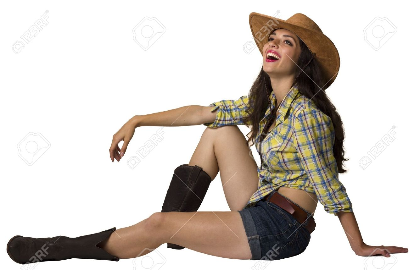 Foto de archivo , Mujer sonriente agradable en ropa de vaquero aislados para el diseño sobre fondo blanco