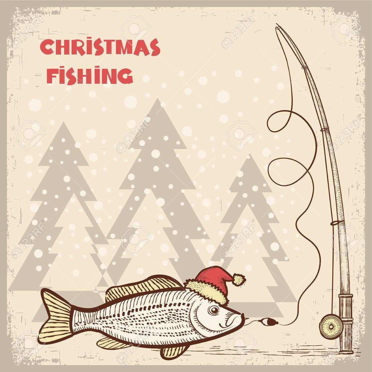 Weihnachten Angelkarte Mit Fisch Im Roten Sankt Hat.Vector Zeichnung ...