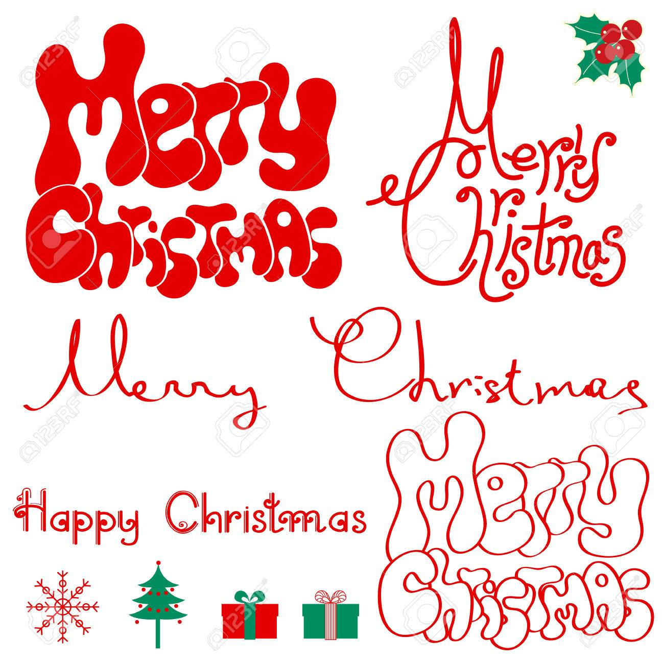 Merry Christmas Text Isolated On White For Design Royalty Free ...