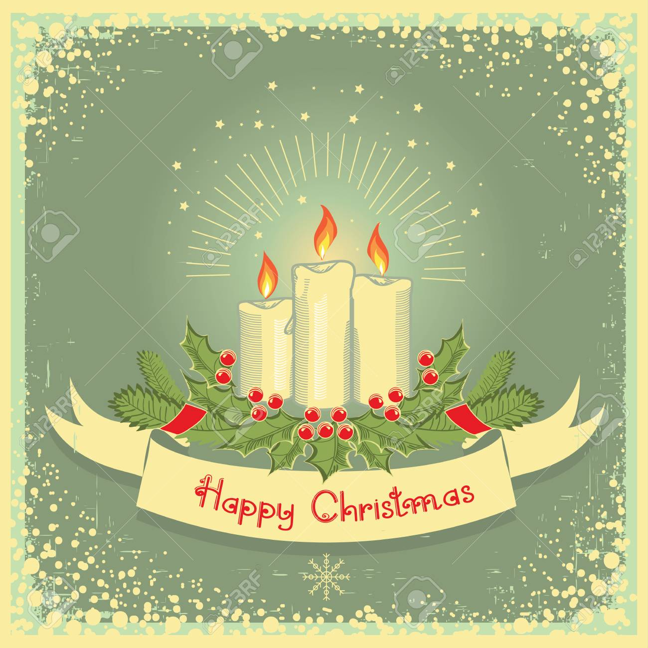 Vintage Christmas Candles.Vector Christmas Candles With Scroll Vector Vintage Illustration