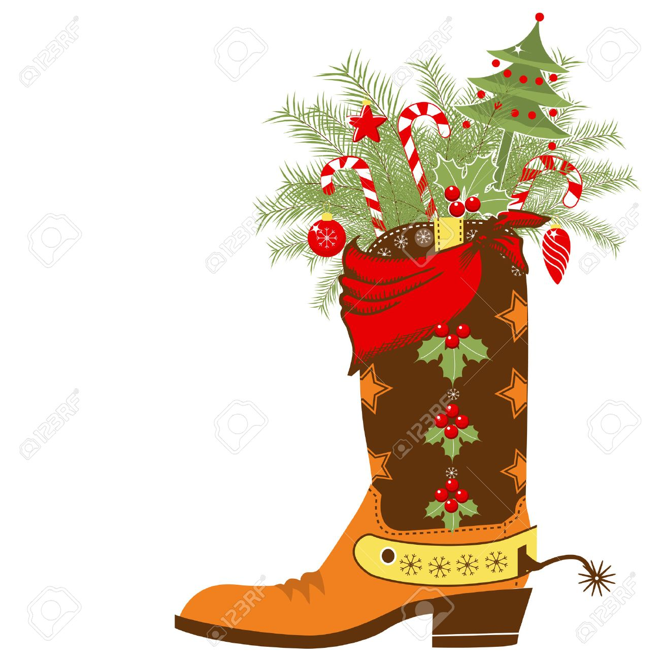 Cowboy Christmas Card With Boot And Wnter Holiday Elements.Vector Shoe  Isolated On White Background