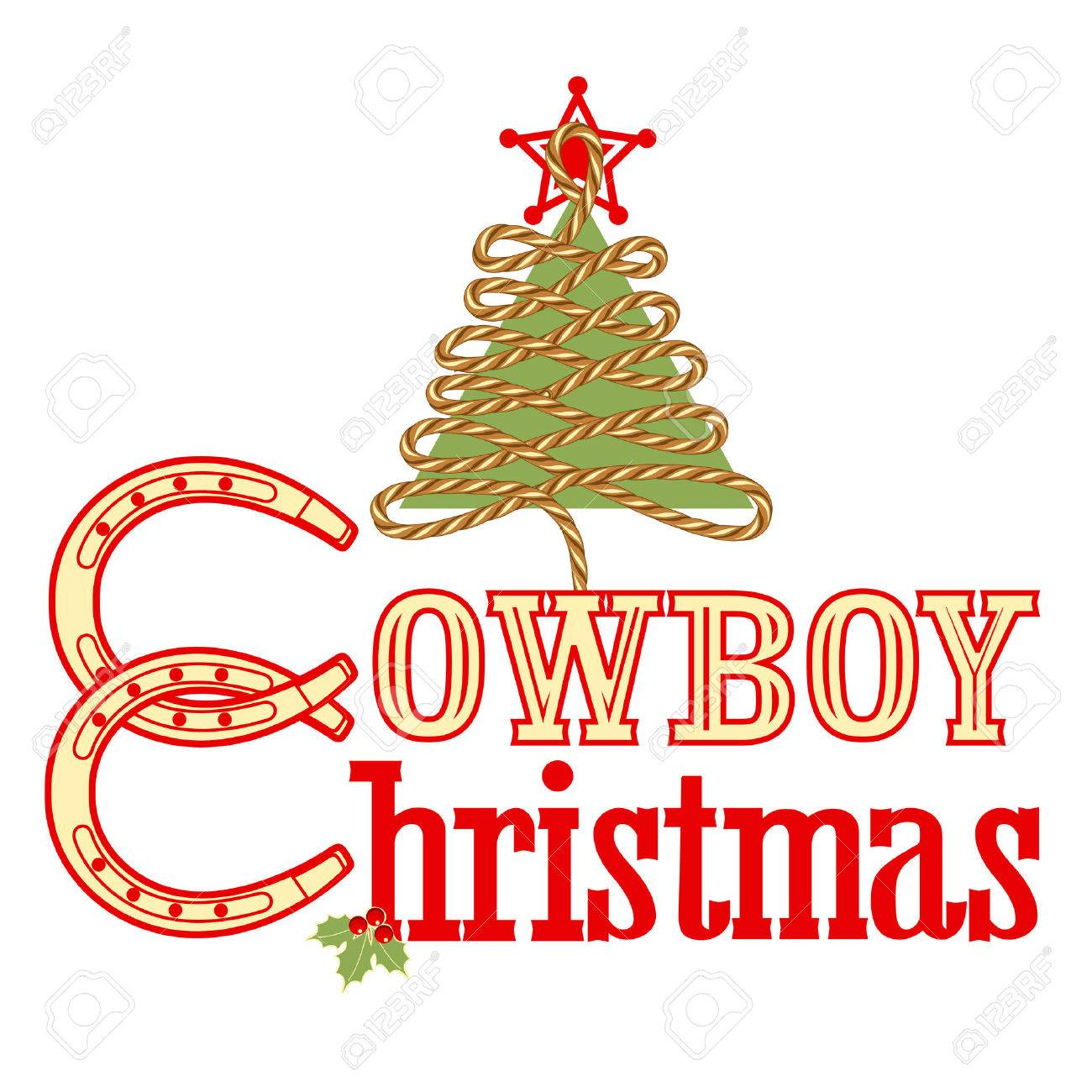 Cowboy Christmas Text Isolated On White.Vector Illustration For ...