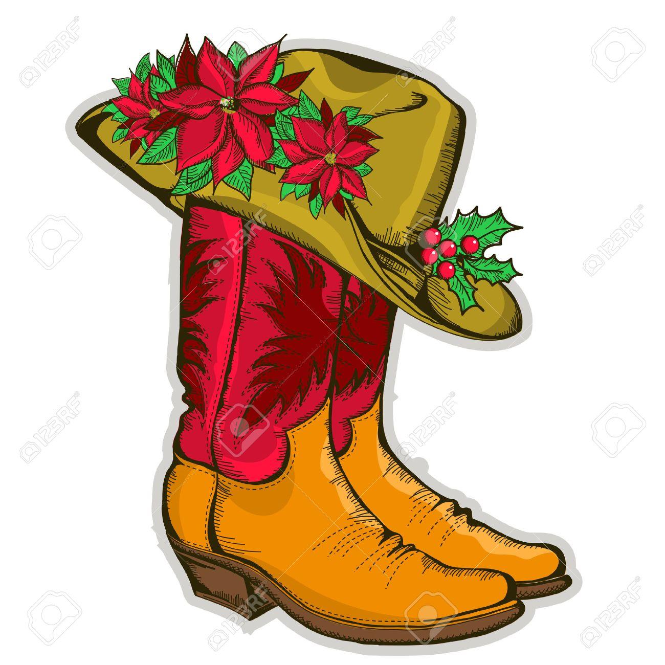 Foto de archivo - Navidad del vaquero botas y sombrero occidental con  Holiday decoration.Vector ilustración b89cb63e2c0