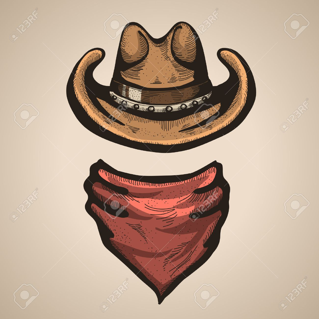 Cowboy hat and bandana scarf. Stock Vector - 31090523 fd48ea4217c