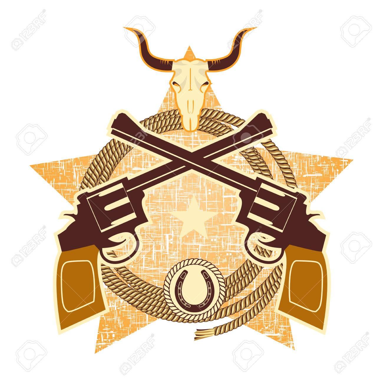 銃とカウボーイ要素と西洋のシンボルですベクトル イラストのイラスト