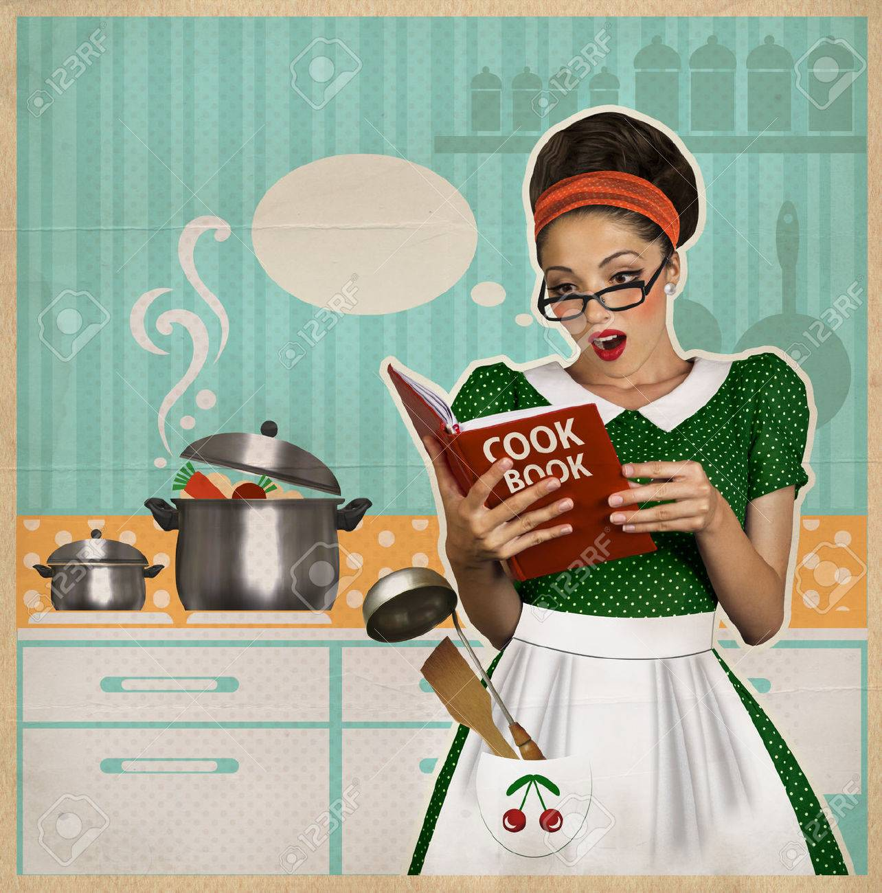 Young Beautiful Woman Cooks In The Kitchen.Retro Style Collage ...