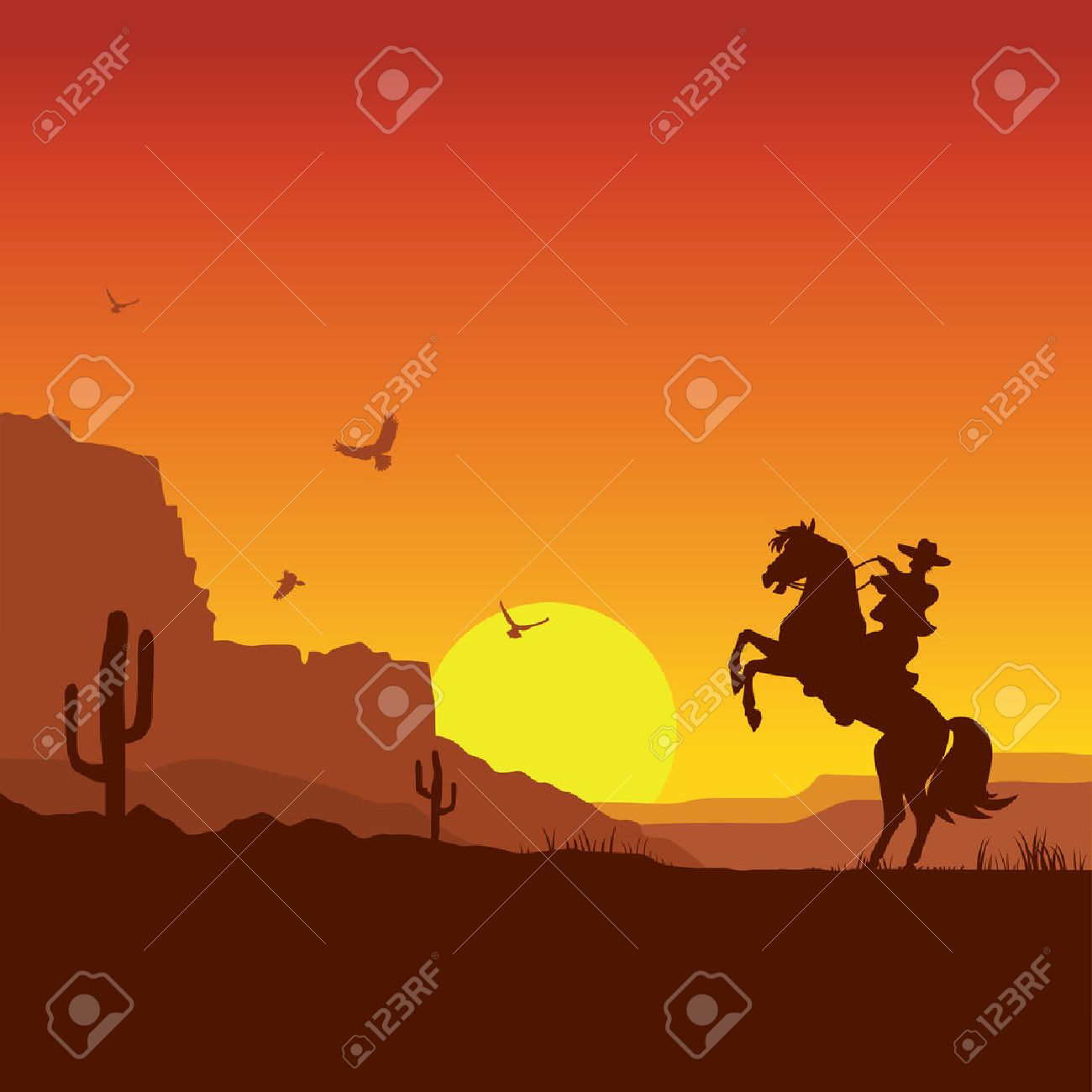 American wild west desert with cowboy on horse.Vector sunset landscape - 35642731