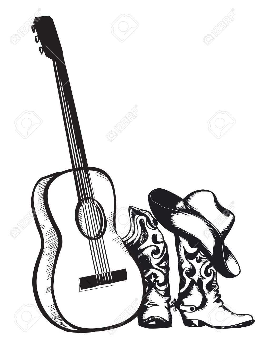 western country music with cowboy shoes and music guitar vector rh 123rf com free country music clipart images country music clipart black and white