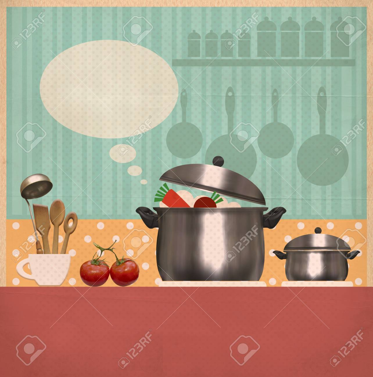 Kitchen Room.Retro Style Cooking Background On Old Paper For.. Stock ...
