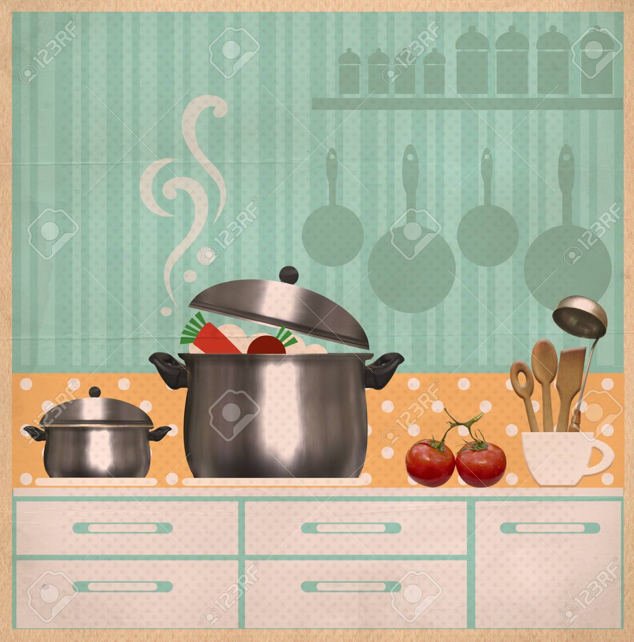 Kitchen Room.Retro Style Collage Background On Old Paper For.. Stock ...