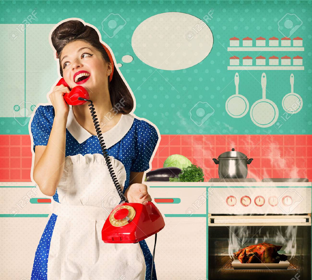 Retro Woman Kitchen Stock Photos. Royalty Free Retro Woman Kitchen ...