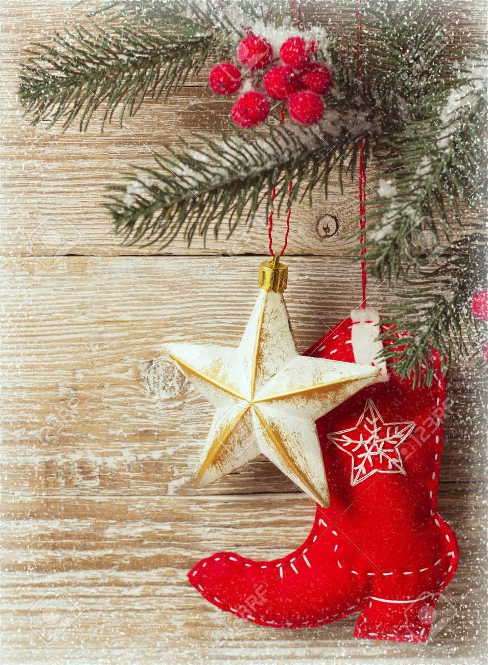 Weihnachten Hintergrund Mit Cowboy-Spielzeug Schuh Und Holz Textur ...