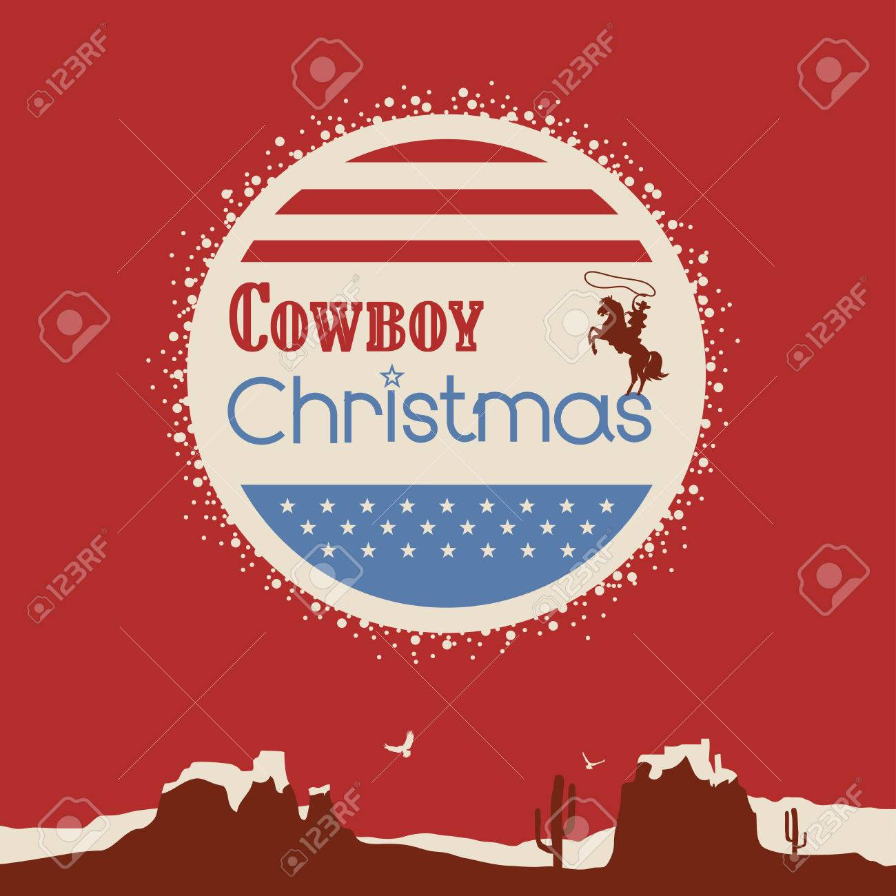 Patriotic Christmas Background.Poster Of Cowboy Christmas Background With Patriotic Elements