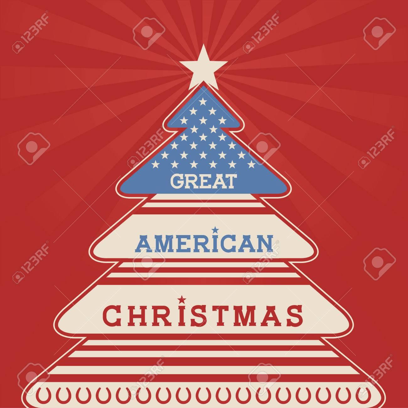 Patriotic Christmas Background.American Christmas Tree Poster Background With Patriotic Elements