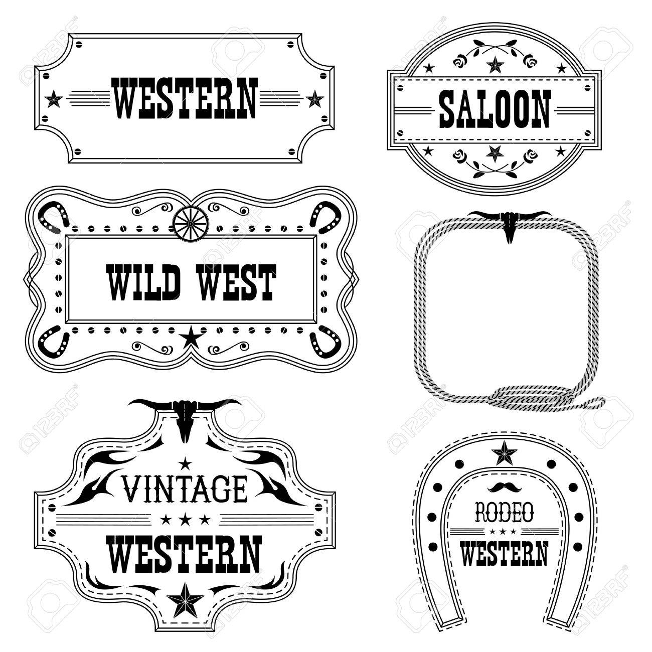 27930705a4d Vector - Western vintage labels isolated on white for design.Vector antique  frames with text
