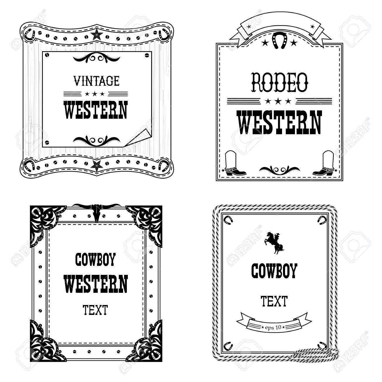 Satz Von Etiketten Und Frames In Western-Stil Isoliert Auf Weiß Für ...