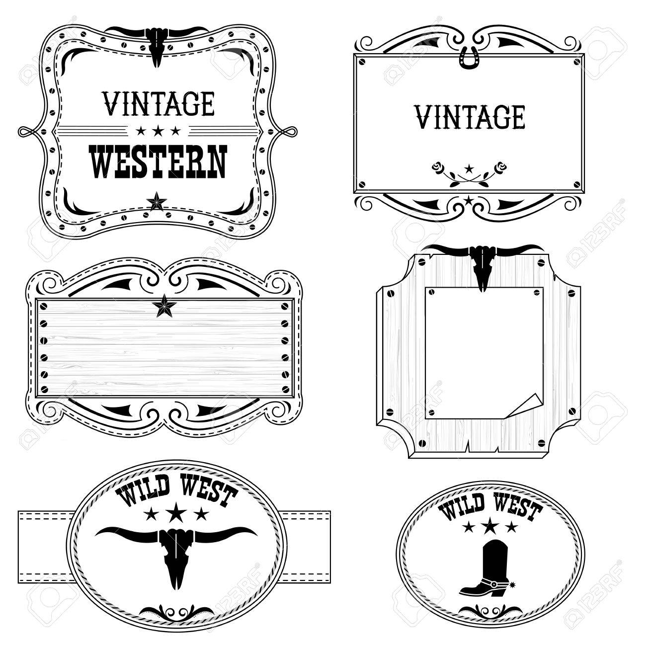 827bf03da9e Vector - Western vintage cowboy labels isolated on white for design.Vector  antique frames with text