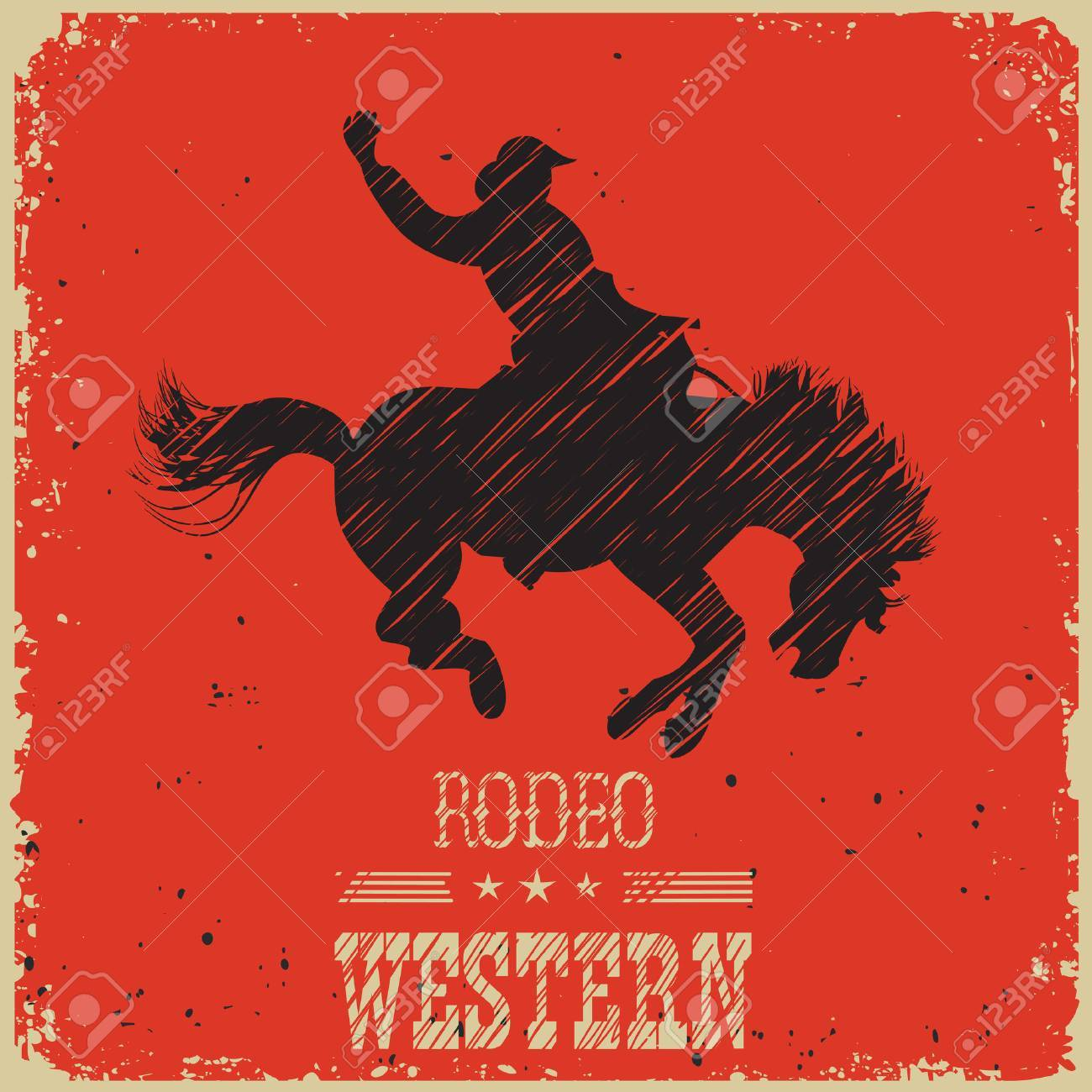 Western Cowboy Riding Wild Horse Vector Poster On Red Background Royalty Free Cliparts Vectors And Stock Illustration Image 54701295