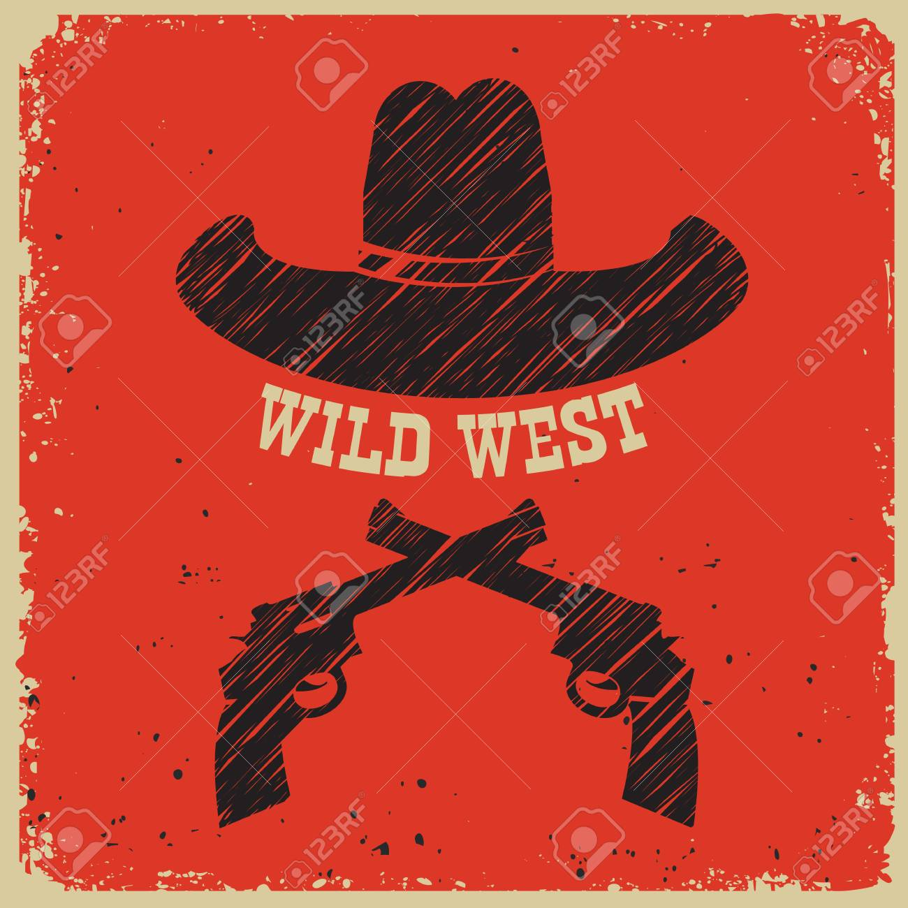 5716d8e9de9 Vector - Western poster background with cowboy hat and guns on red paper