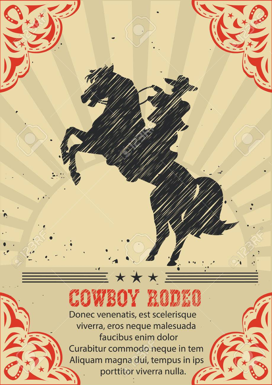 Cowboy Riding Wild Horse Vector Western Poster Background For Royalty Free Cliparts Vectors And Stock Illustration Image 55487995