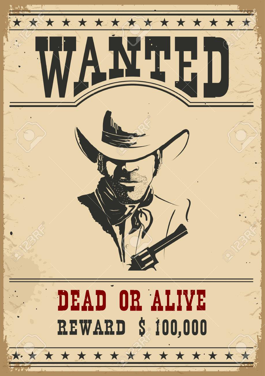 Wanted poster.Western vintage paper for design - 56451055