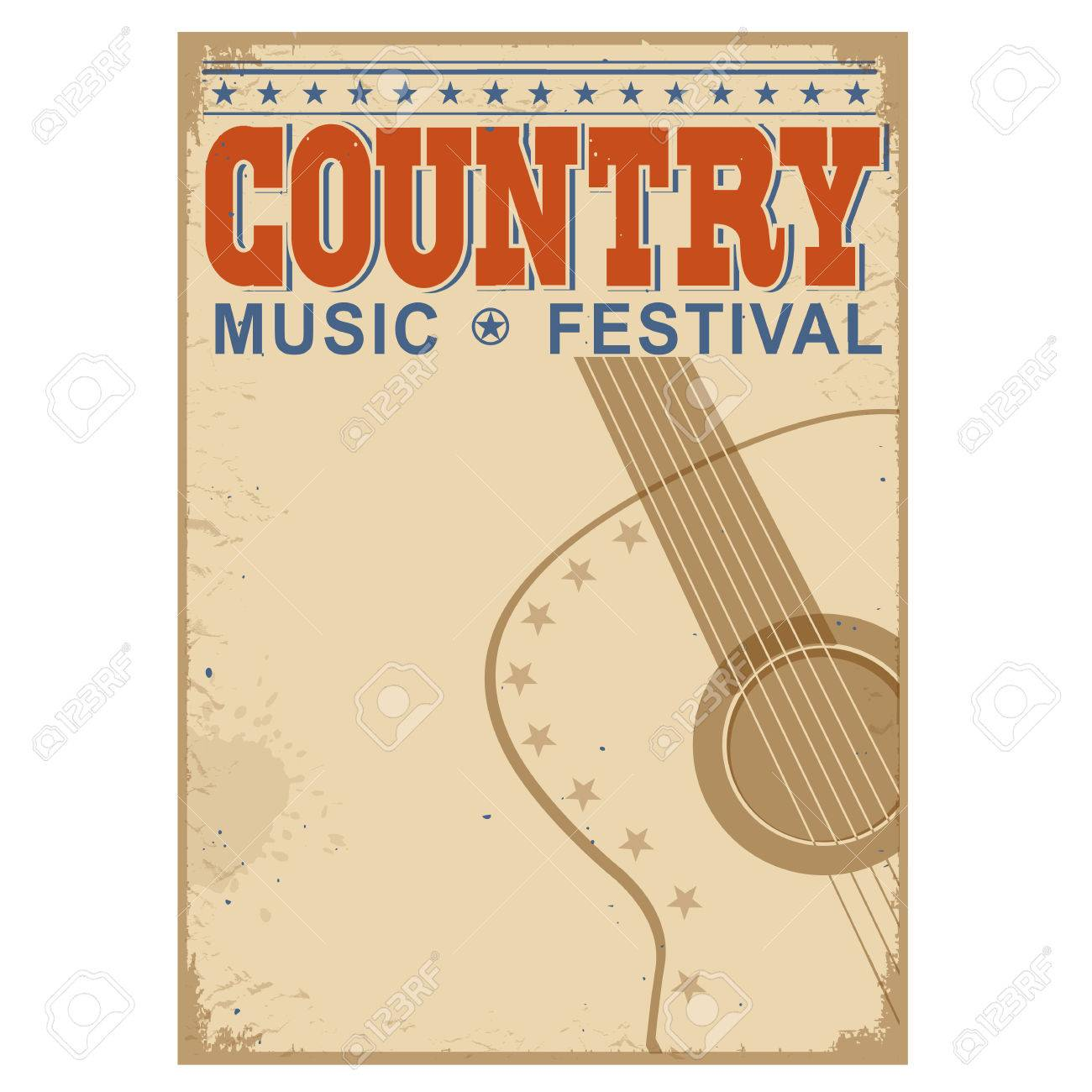 Country Music Festival Background With Symbol Of Guitarctor