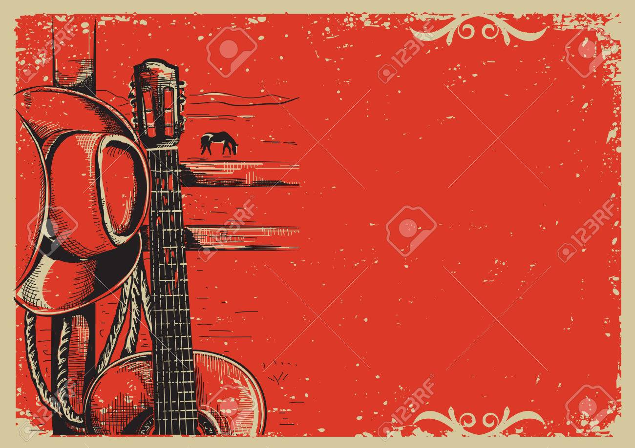 western country music poster with american cowboy hat and guitar
