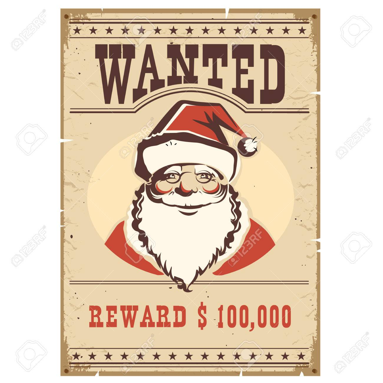 d9fa0ab1d1473f Wanted Poster Santa Claus On Old Paper.Western Western Card Royalty ...