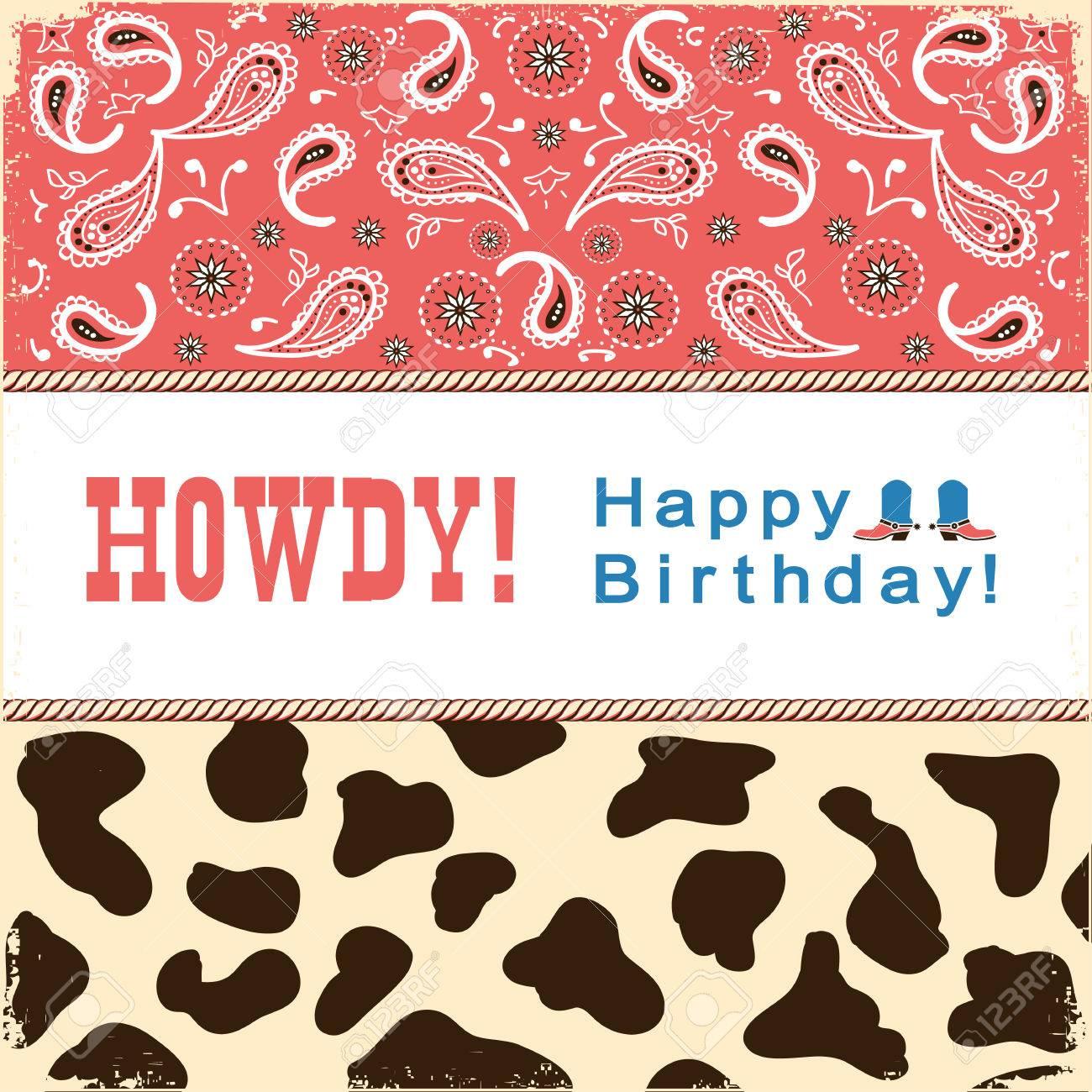 Carte De Joyeux Anniversaire De Cowboy Avec Le Texte Carte Enfant Carte Retro Illustration Clip Art Libres De Droits Vecteurs Et Illustration Image 75389611