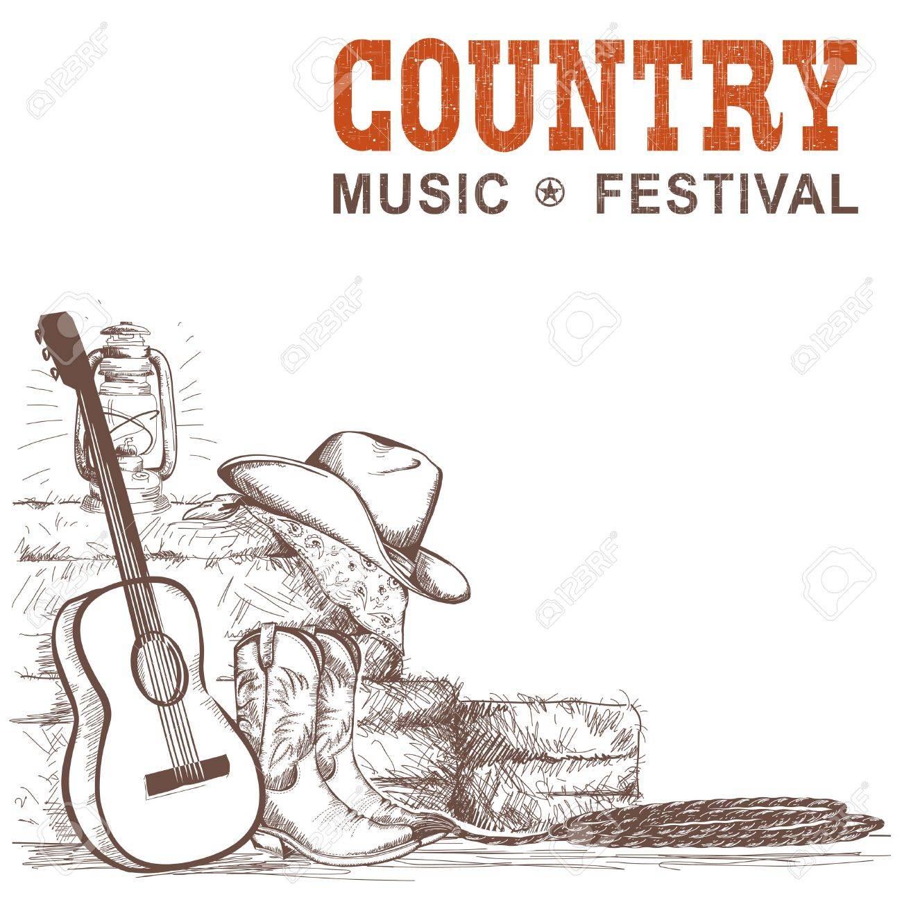 Fondo De Música Country Con Guitarra Y Zapatos De Vaquero Americano ...