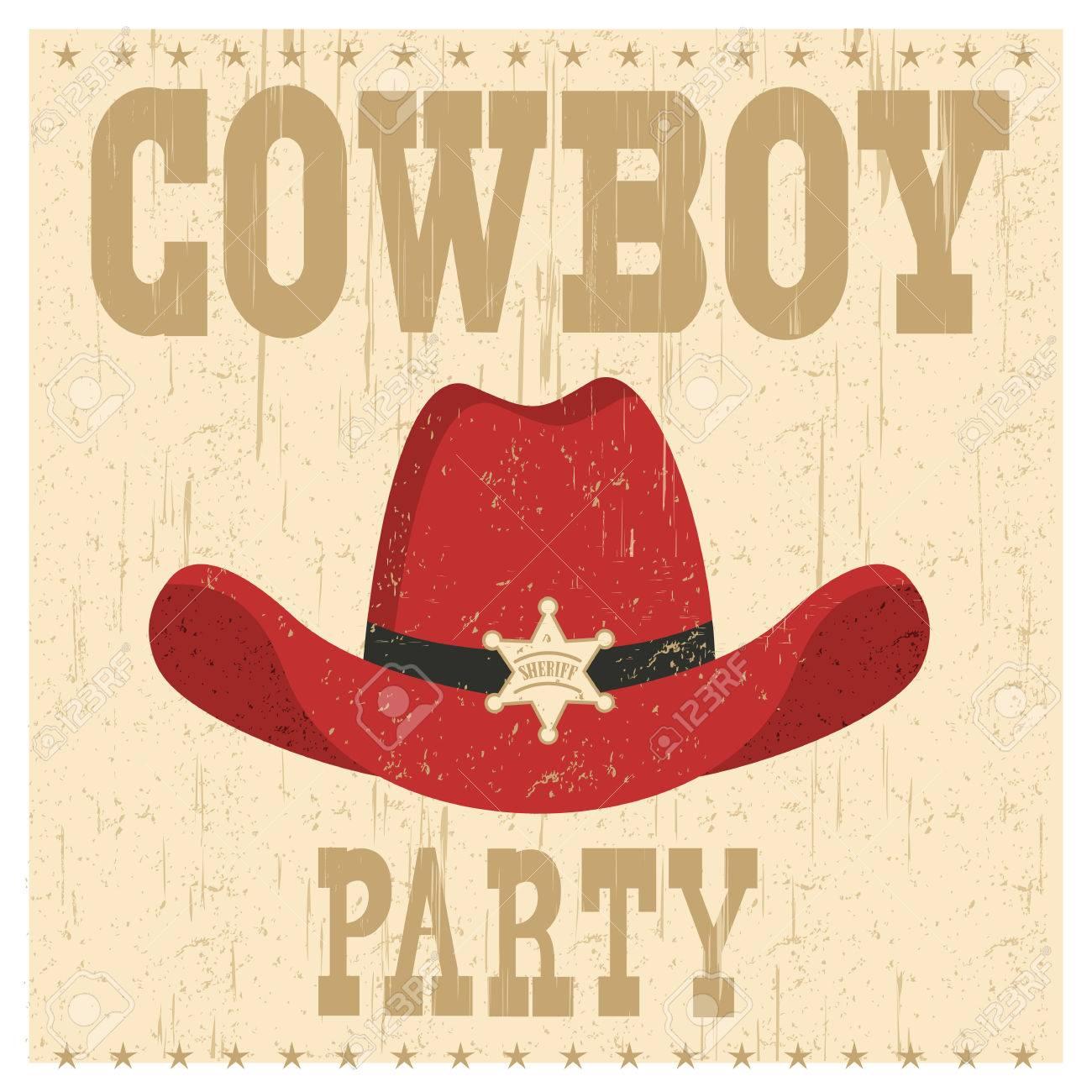 Foto de archivo - Ilustración de tarjeta de fiesta de vaquero con sombrero  occidental y estrella de sheriff bd8b3c5aafb