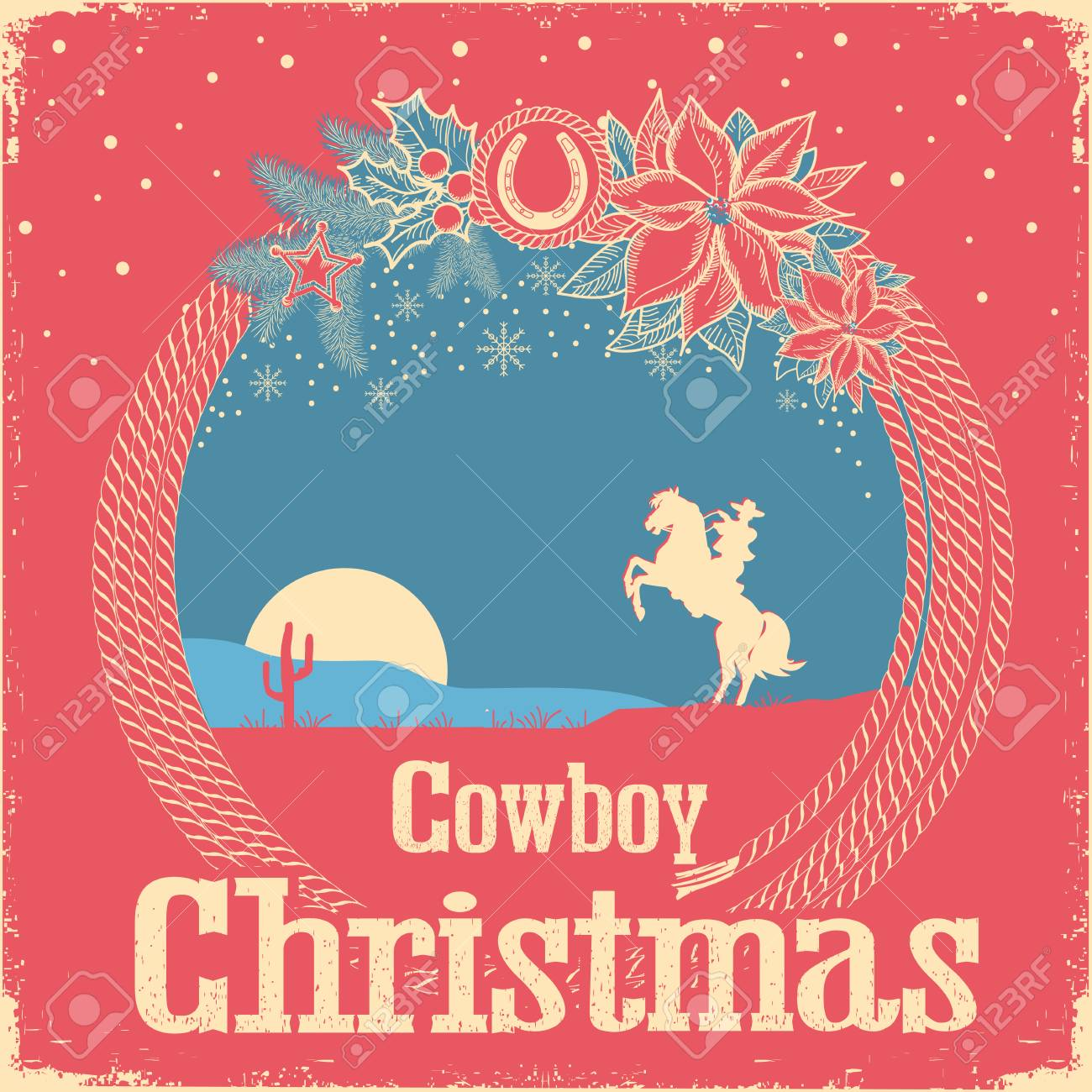 Cowboy Retro Christmas Card With Cowboy Lasso And Holiday Decoration ...