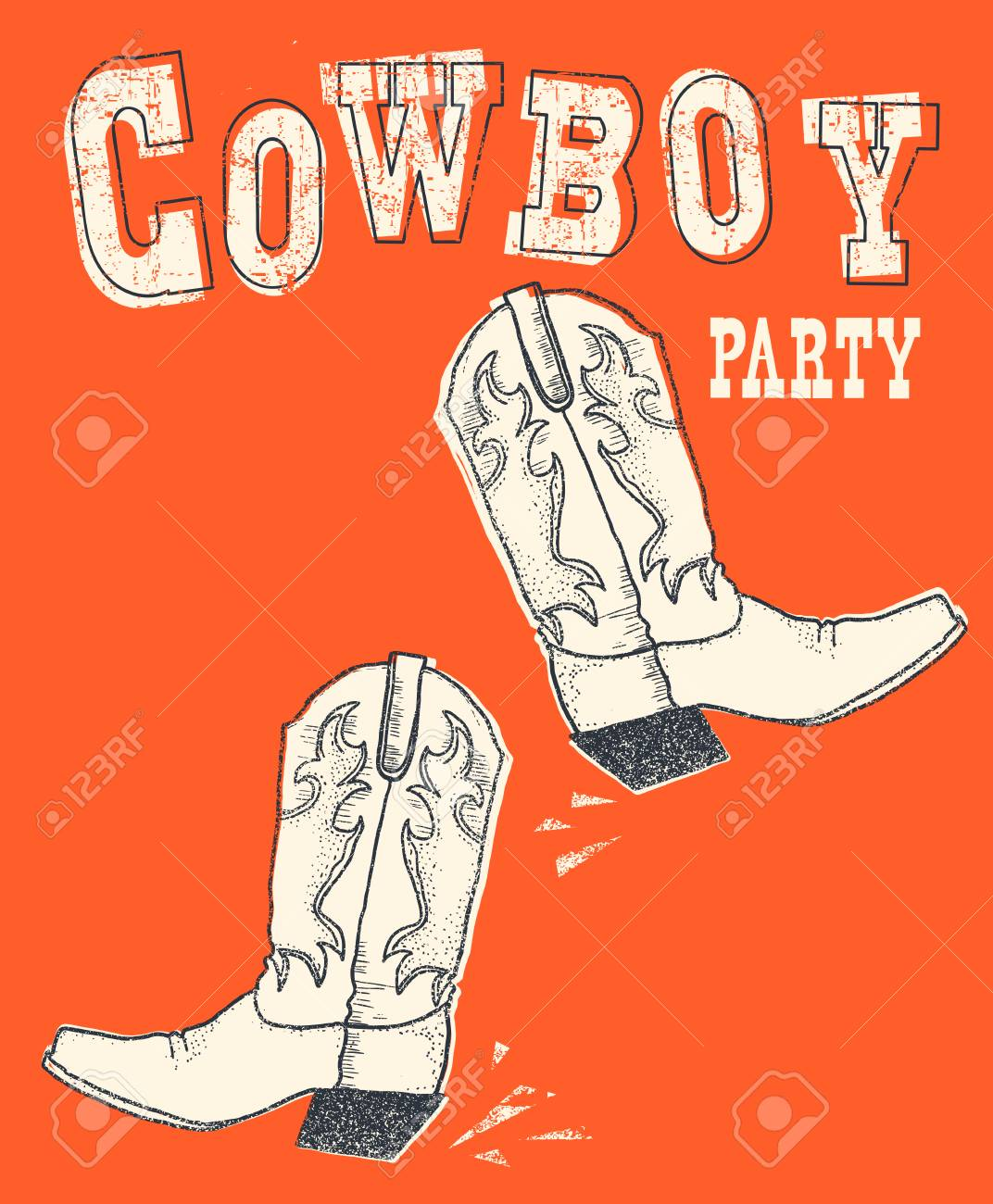 Cowboy western boot on red background.Vector hand drawn graphic illustration for text - 127719792