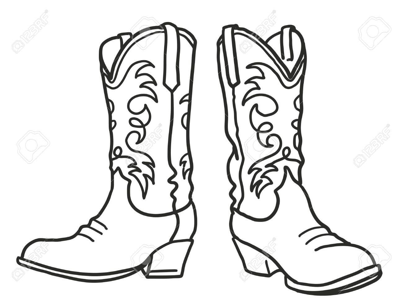 Cowboy boots. Vector graphic hand drawn illustration isolated on white for print or design - 138360262