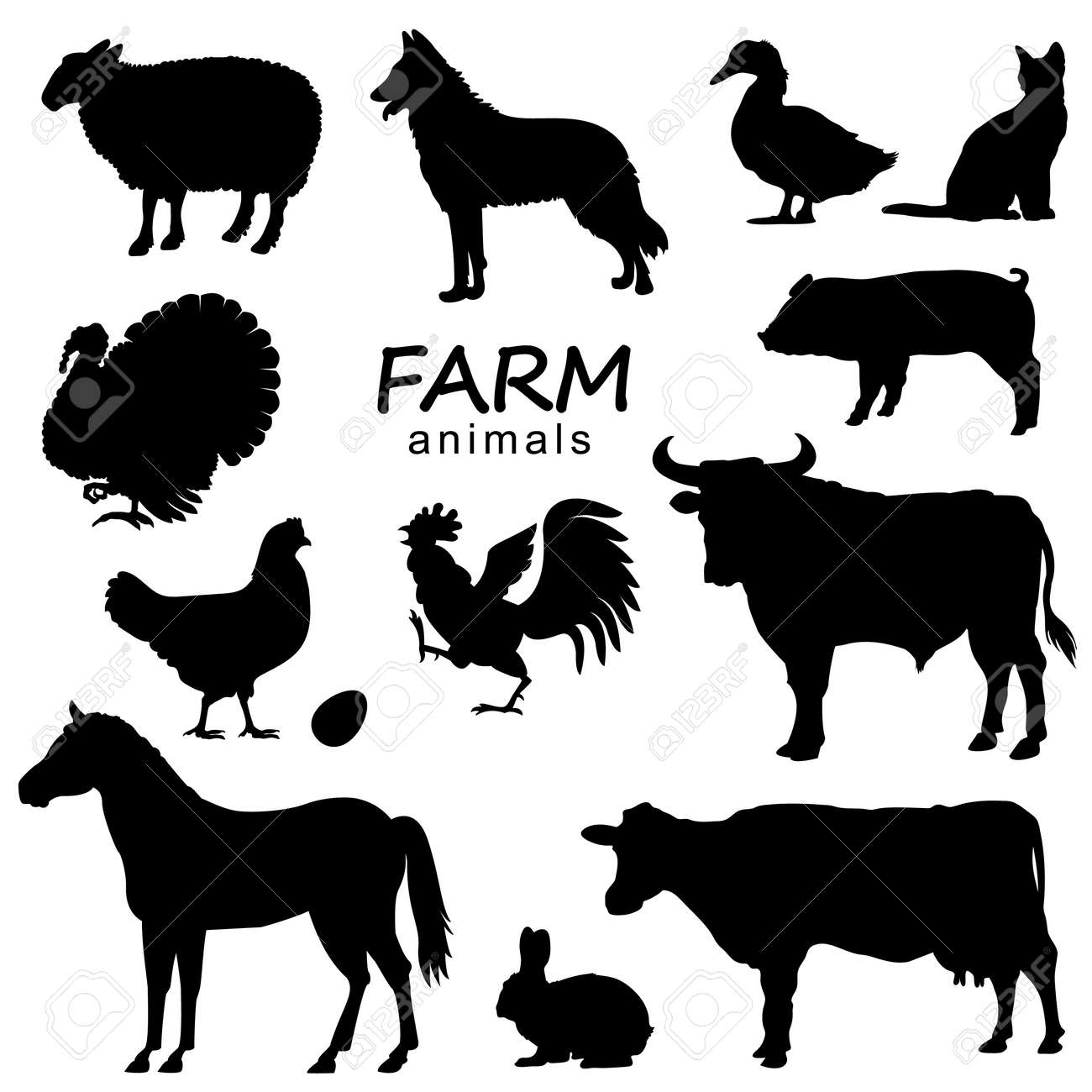 Farm animals set vector black silhouette isolated on white for design - 156323581